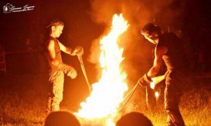 Giochi di fuoco al porto di Gera Lario