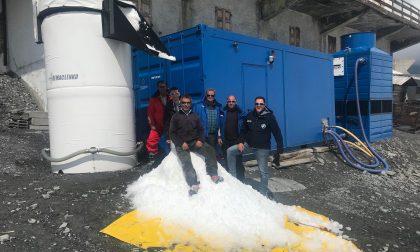 Allo Stelvio neve artificiale anche sopra lo zero termico