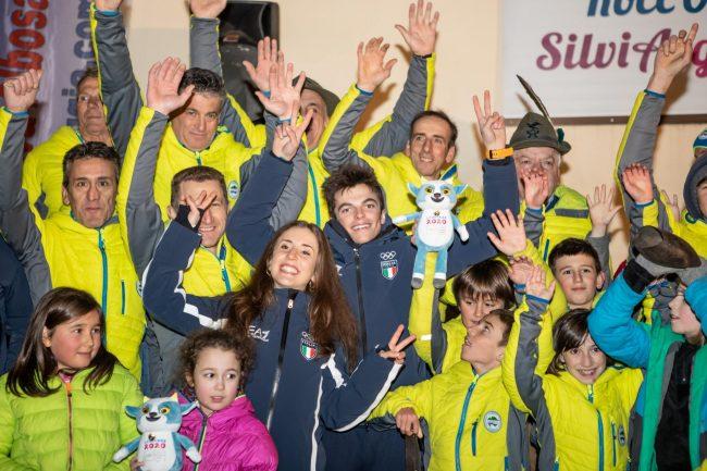 Albosaggia: accoglienza da eroi per gli skialper Rocco e Silvia FOTO