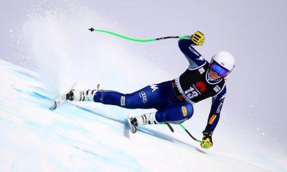 Elena Curtoni sul podio nella discesa libera a Crans Montana