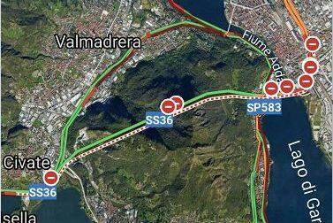 Chiuso il tunnel del Barro: traffico in tilt sulla Statale 36