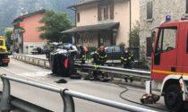 Auto ribaltata a Somaggia, un ferito grave